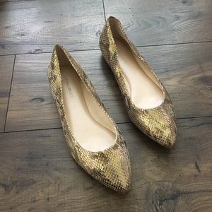 Banana Republic Gold Snake Metallic Flats 9.5